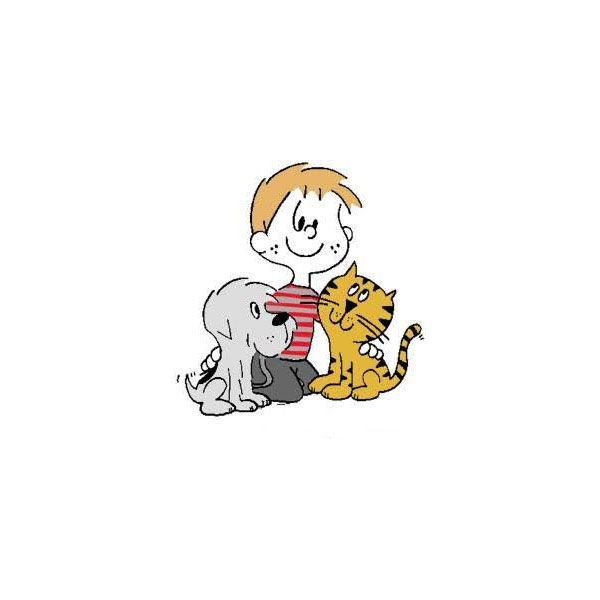 Kid with dog and cat illustration